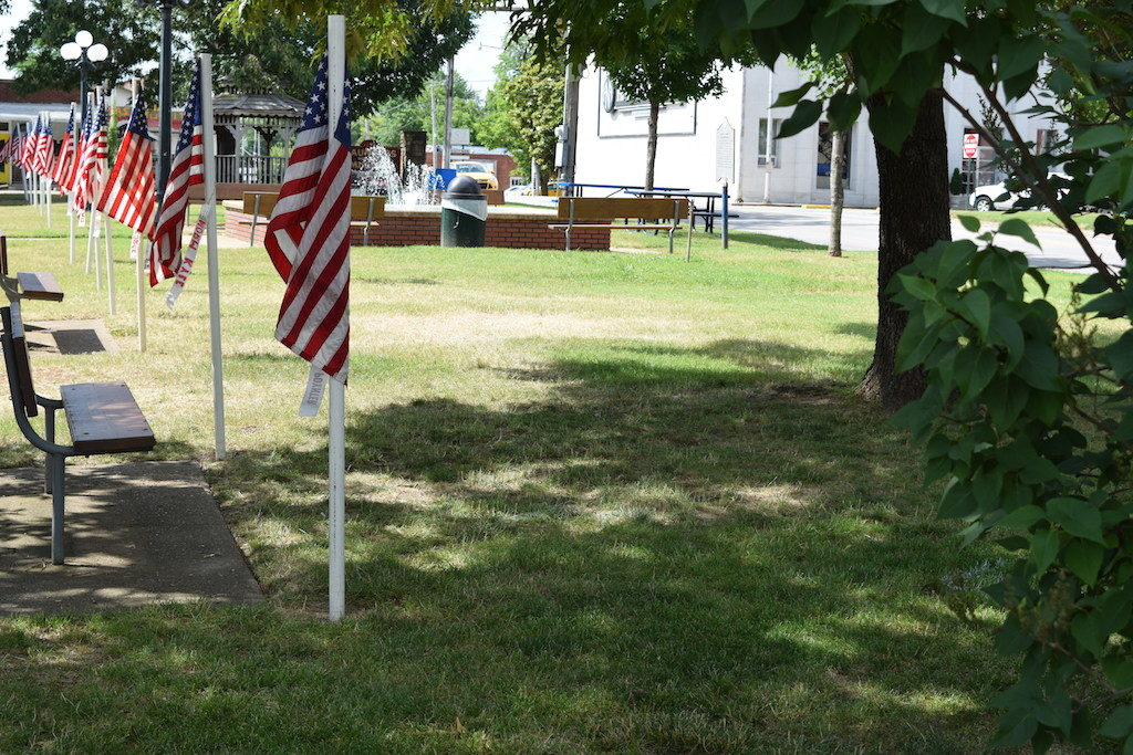 Patriotic Flags Decorate City Square On Holidays